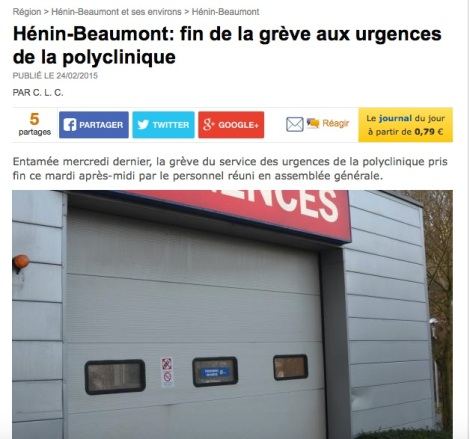 Article VDN fin grève polyclinique