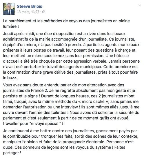 Briois agression journaliste