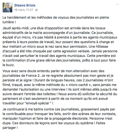 Briois agression journaliste