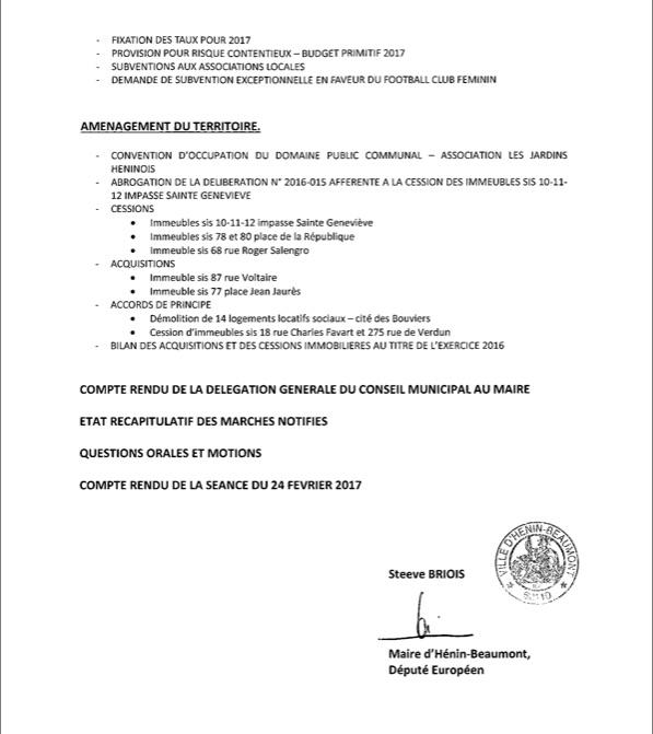 Ordre du jour Conseil municipal 2